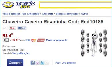"""O Chaveiro """"Caveira Risadinha"""" está à venda no Mercado Livre por R$ 4,99 cada!"""
