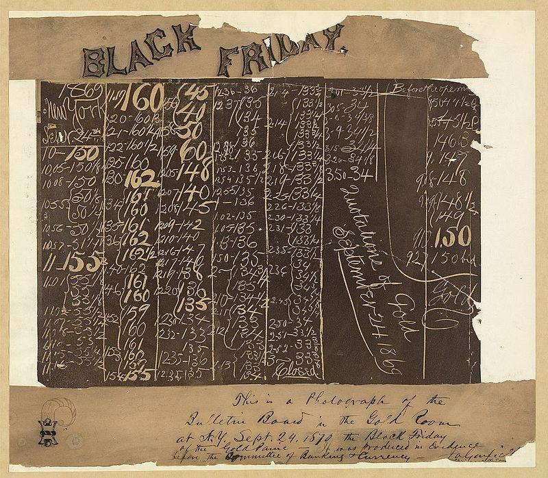 Fotografia de uma placa de 1869, mostrando o colapso do preço do ouro. (foto: Wikipedia)
