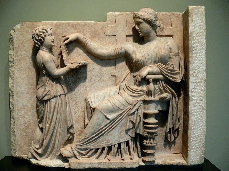 Lápide grega do ano de 100 a.C. (foto: Wikipédia)