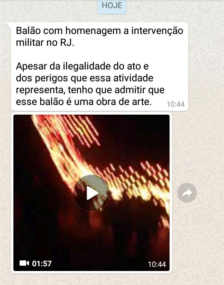 Equipe solta balão em homenagem à intervenção no Rio de Janeiro! Será?
