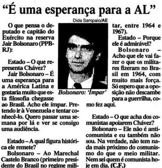 """Bolsonaro disse que Chávez é """"uma esperança para a América Latina""""?"""