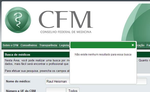 Reprodução do resultado da busca pelo doutor no site do Conselho Federal d Medicina!