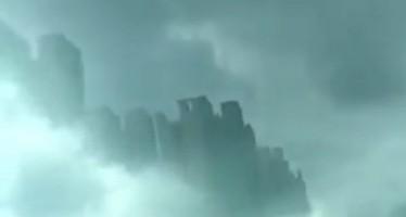 Cidade flutuante apareceu na China! Será? (foto: Reprodução/YouTube)