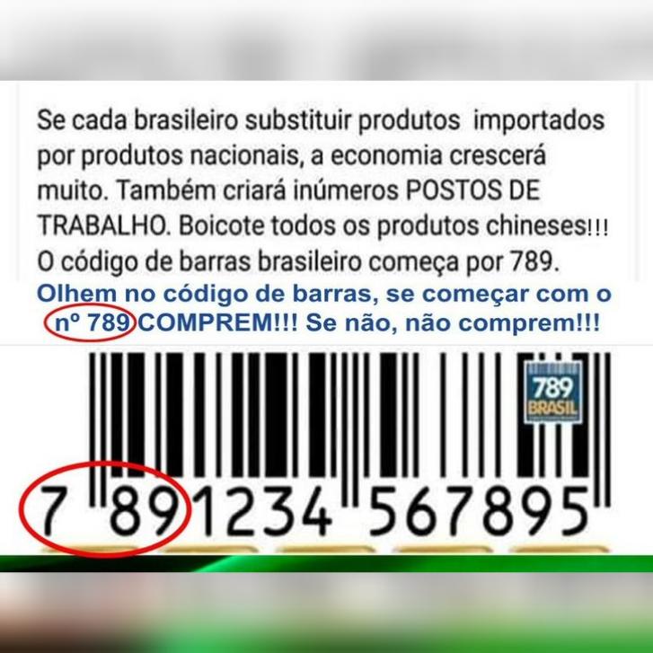 """Produtos com códigos de barras iniciados por """"789"""" foram fabricados no Brasil?"""