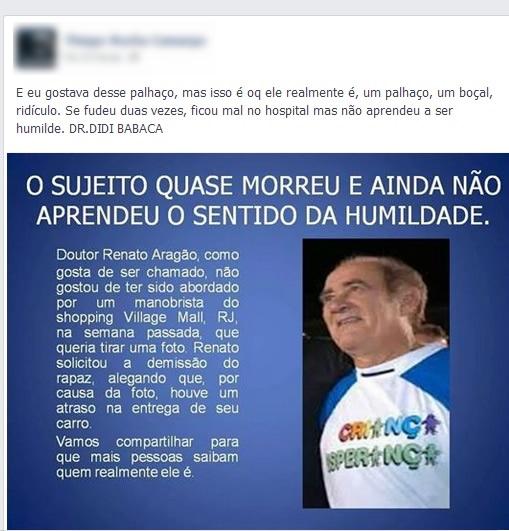 Renato Aragão teria pedido a demissão de um manobrista que queria tirar uma foto com ele! Verdade ou farsa? (foto: reprodução/Facebook)