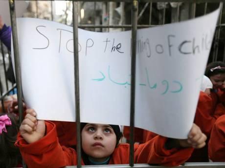 Crianças participaram do protesto contra o governo da Síria! (foto: Reprodução)