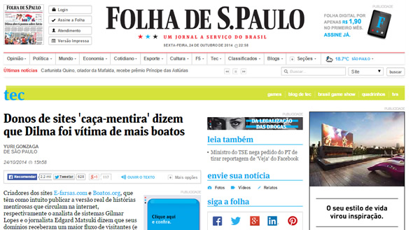 Gilmar Lopes do E-farsas fala na Folha de São Paulo sobre boatos eletrônicos em época de eleições! (reprodução)