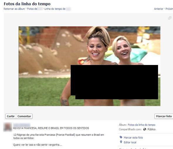 Imagem associada à matéria da France Football é, na verdade, de um trecho do BBB 14 (foto: Reprodução/Facebook)