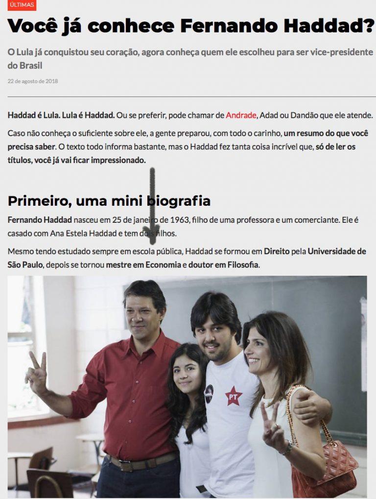 Coligação do PT publicou fake news sobre formação de Fernando Haddad?
