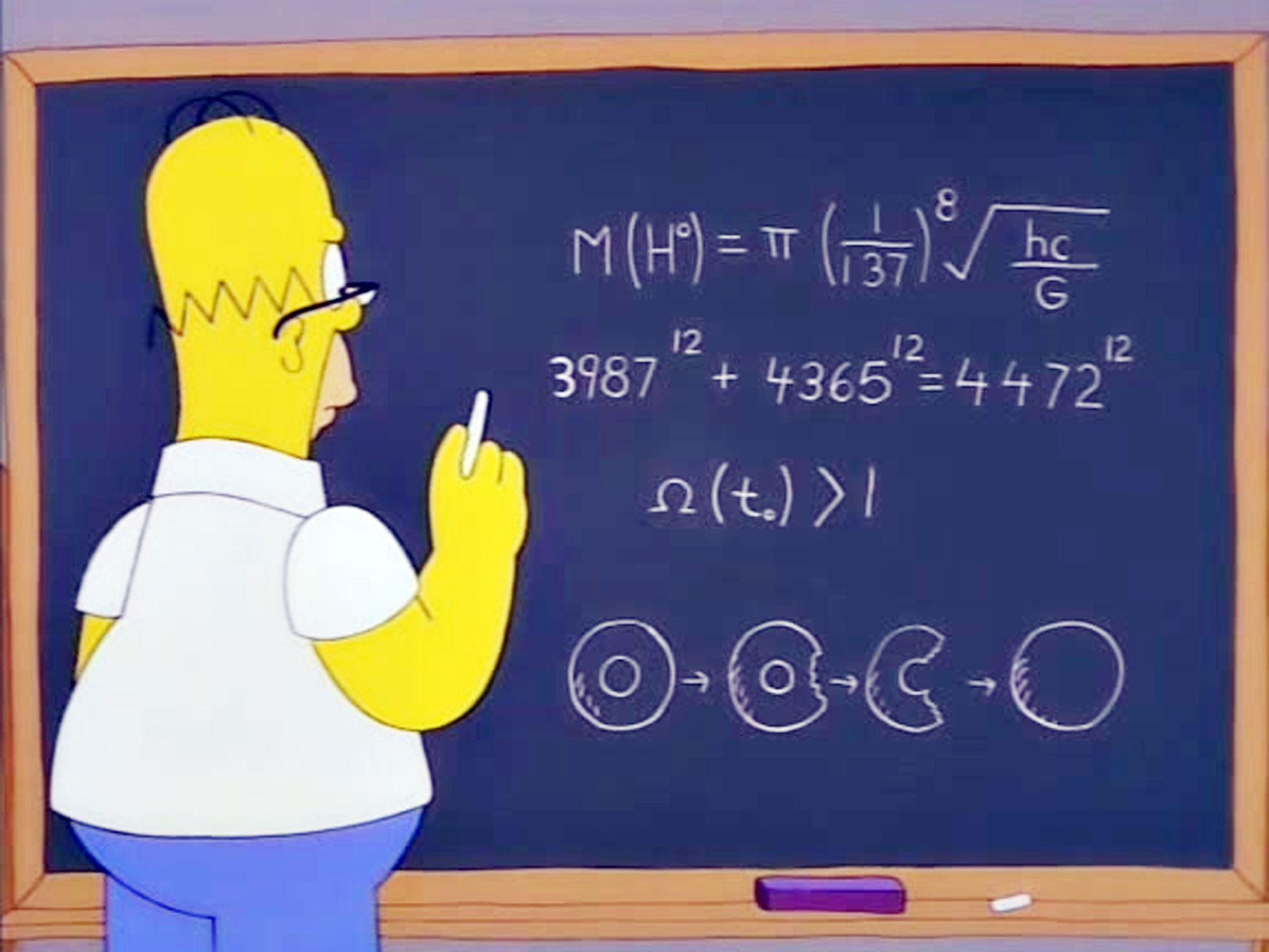 """Cena do episódio """"The Wizard of Evergreen Terrace"""" de Os Simpsons, que foi ao ar em 1998, mostra a previsão de Homer para o bóson de Higgs! (foto: Reprodução/YouTube)"""