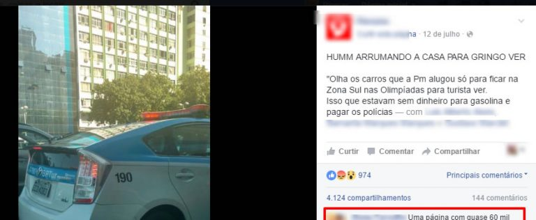 PM do Rio alugou carros de luxo para ficar bonita para os gringos?