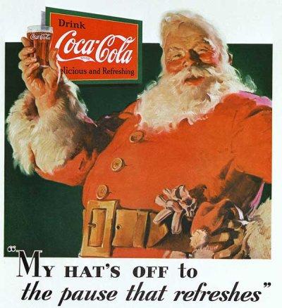 A primeira ilustração oficial da Coca-Cola usando o Papai Noel!