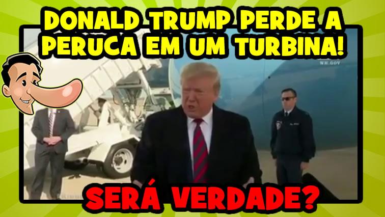 Donald Trump perdeu a peruca em uma turbina de avião?