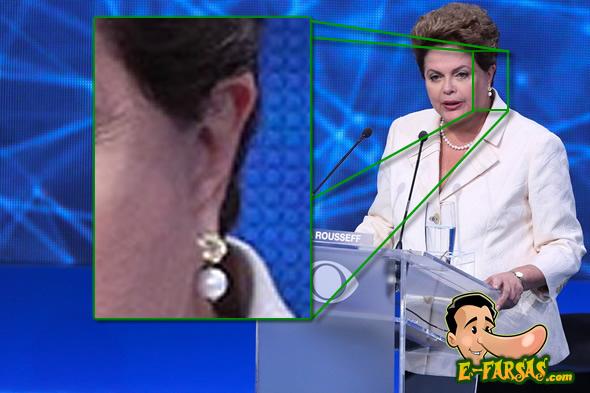 Perceba na ampliação que não há nada na orelha da candidata! (Montagem sobre foto de Vanessa Carvalho/Folhapress)