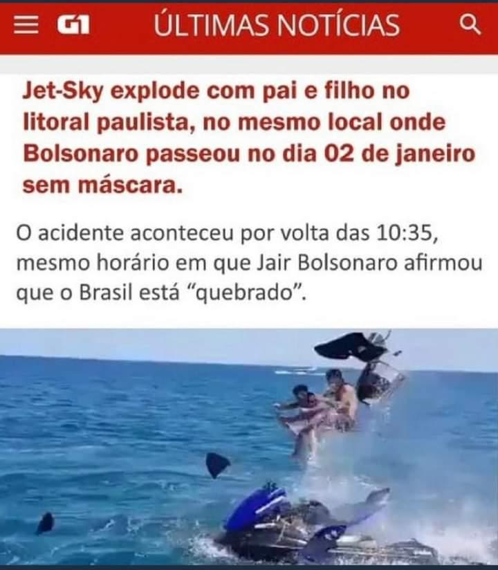 O portal G1 publicou notícia ligando explosão de jet ski ao presidente Jair Bolsonaro?