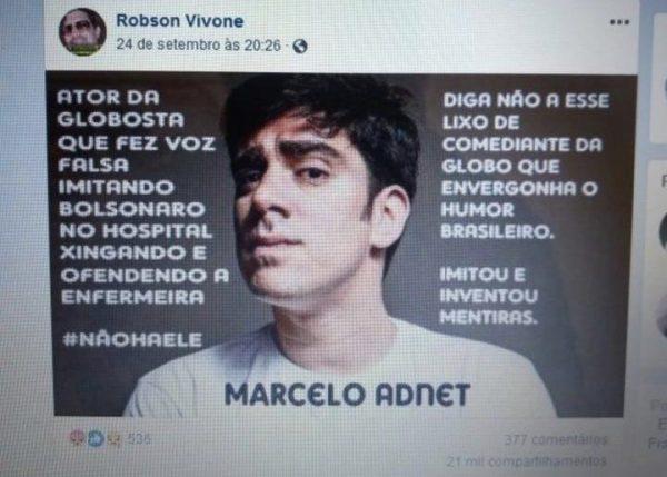 O humorista Marcelo Adnet foi o imitador da voz de Bolsonaro em áudio vazado no hospital?