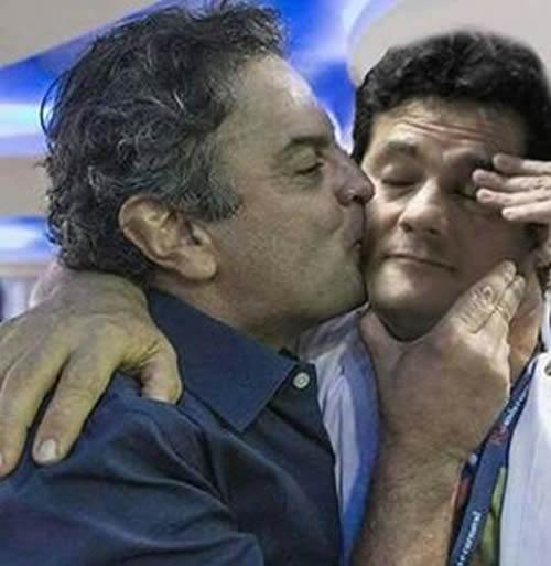 Aécio Neves é flagrado beijando o rosto do juiz Sérgio Moro?