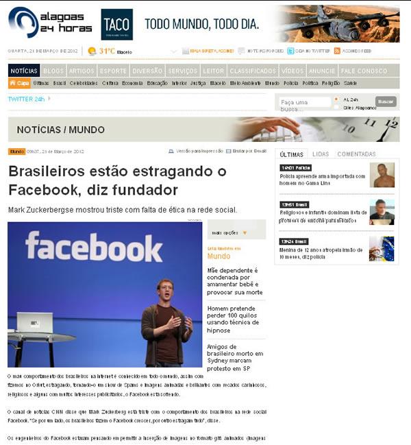 Noticia  no site jornalistico Alagoas 24horas
