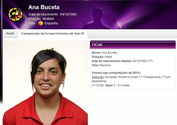 Ana Buceta - jogadora da Espanha - reprodução do site da Uefa