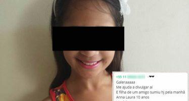 Anna Laura, de 10 anos, estaria desaparecida e o pai faz apelo desesperado no Whatsapp! Será verdade? (foto: Reprodução/Whatsapp)