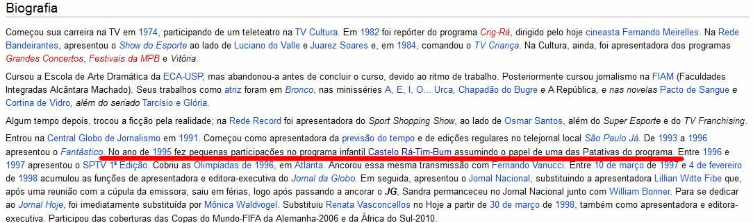 Biografia de Sandra Annemberg com informações falsas no Wikipédia!