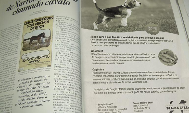 Anuncio da Beagle Steak numa revista rural prova que é real! Será?