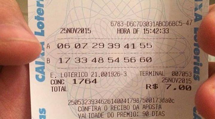 Recibo da aposta vencedora do concurso 1764 da Mega Sena mostra que o jogo teria sido feito em uma agência que não existe! Será verdade? (foto: Reprodução/Facebook)