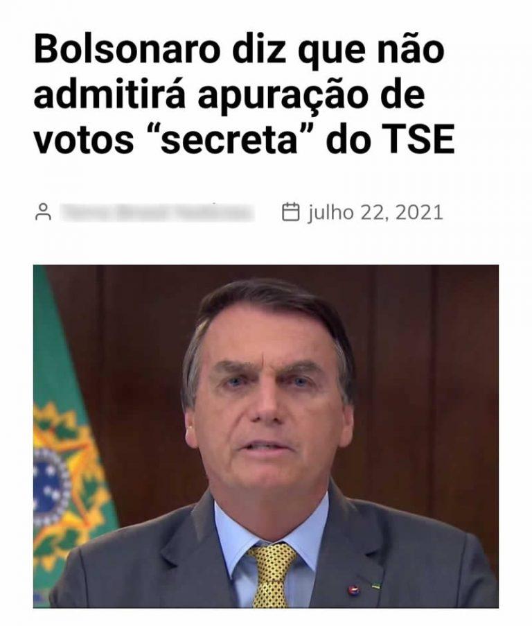 O TSE faz a apuração das eleições em uma sala fechada de forma secreta?