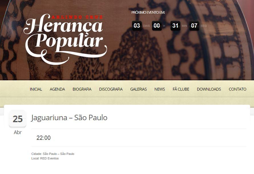 De acordo com seu site oficial, Arlindo Cruz estava em São Paulo no dia 24...