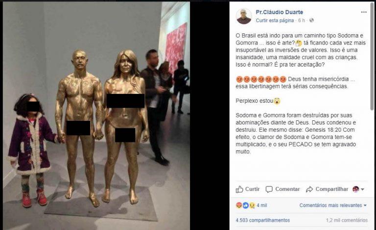 Estátuas nuas transgêneros foram exibidas para crianças no Brasil?