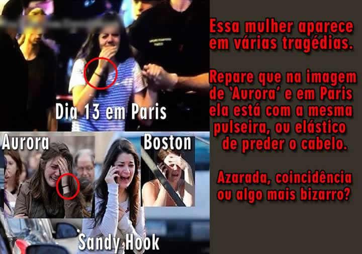 """Colagem de fotos tenta provar que """"usaram"""" a mesma """"atriz"""" em todas as tragédias! Será?"""