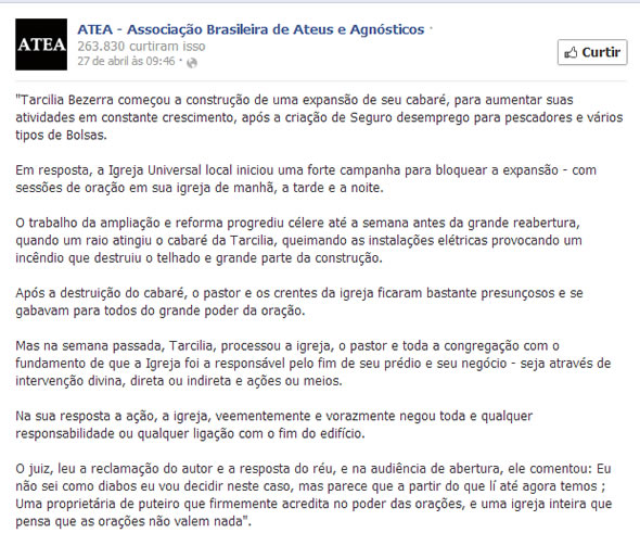 Texto publicado na página da ATEA do Facebook. Seria esse o ponto zero do boato? (Reprodução/Facebook)