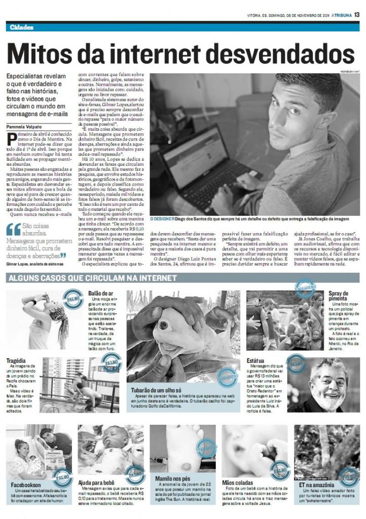 E-farsas.com no jornal A Tribuna - ES - 06-11-2011