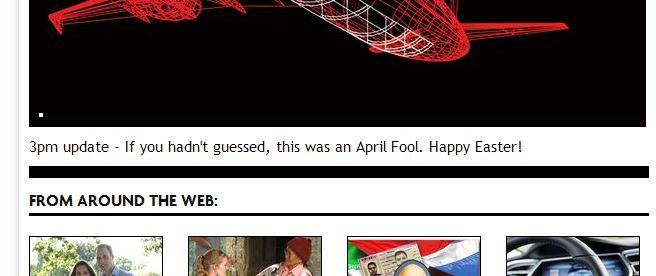 Reprodução do final da matéria atualizada pelo Mirror avisa que a notícia era uma brincadeira de 1° de abril