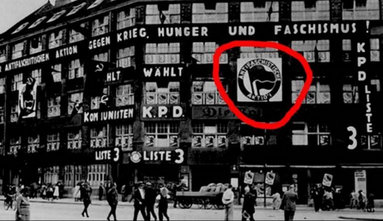 Bandeira antifascista no prédio do Partido Comunista Alemão é verdadeira ou falsa?