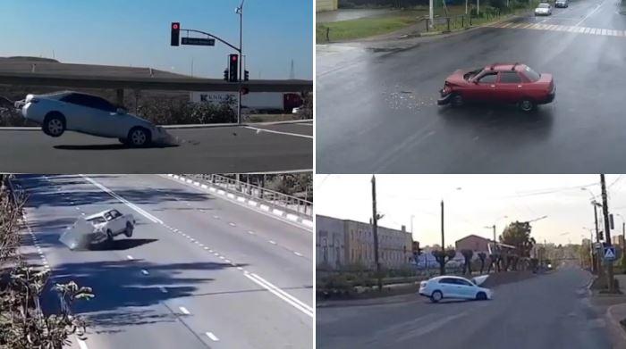 Vídeo mostra carros se chocando com o nada! Fantasmas?