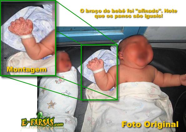 Montagem com a foto do bebê
