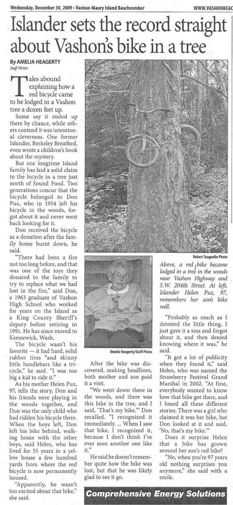 Reportagem sobre a bicicleta na árvore