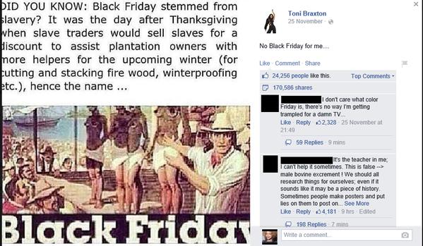 A cantora Toni Braxton publicou essa lenda em seu perfil do Facebook e ajudou a espalhar ainda mais a desinformação!