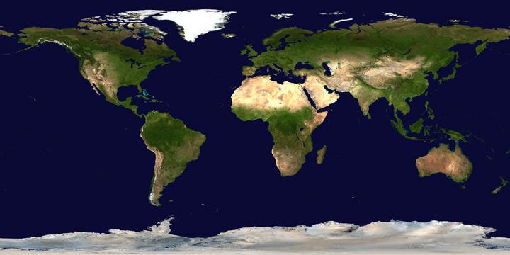 Imagem com a compilação de várias fotos da Terra - Robert Simmon, NASA