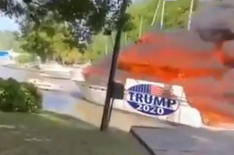 Vídeo de barco de apoiadores de Donald Trump pegando fogo é verdadeiro ou falso?