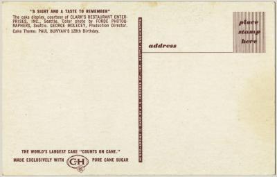 Bolo Gigante Cartão Postal (verso)