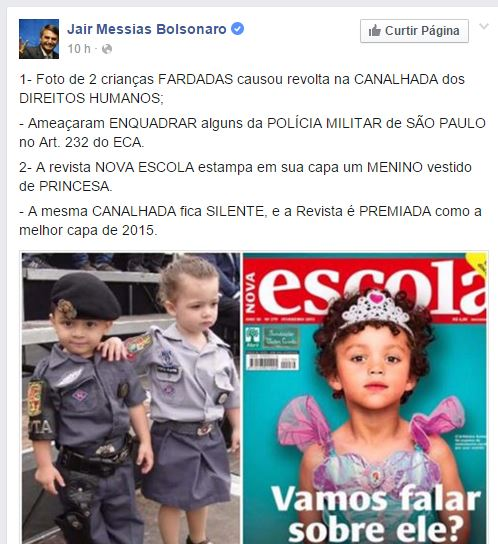 Publicação de um deputado federal critica Direitos Humanos, que teria condenado foto de crianças fardadas! Será verdade? (foto: Reprodução/Facebook)