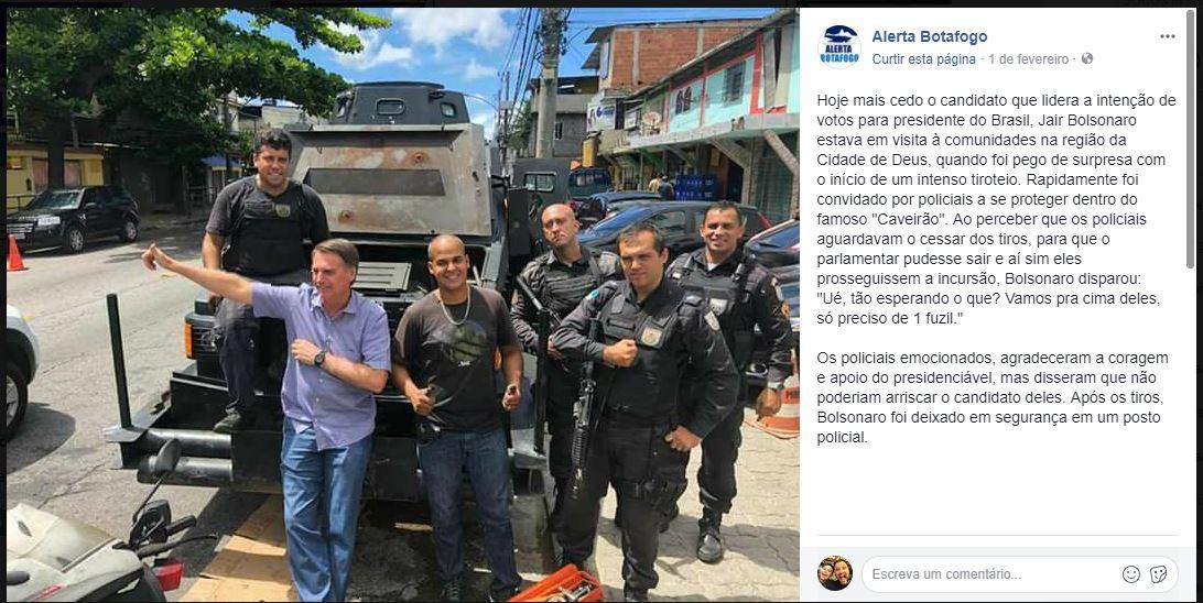 bolsonaro caverao - VEJA VÍDEO: Bolsonaro pediu um fuzil para revidar contra os bandidos ao ser recebido a tiros em Cidade de Deus? Entenda caso
