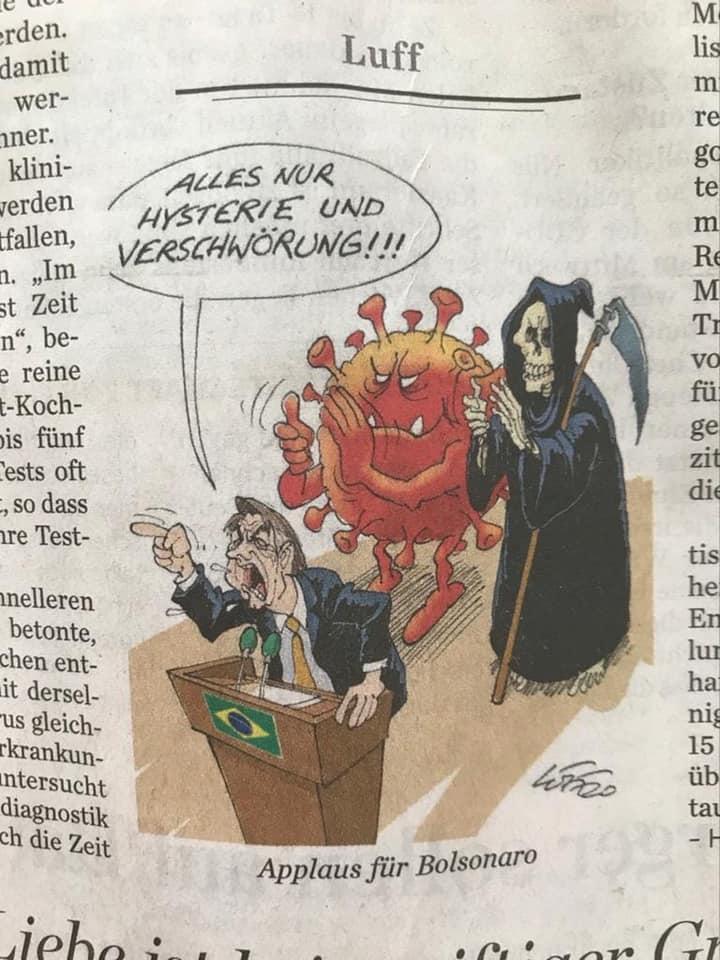 Jornal alemão publicou charge da Morte aplaudindo as atitudes de Bolsonaro?
