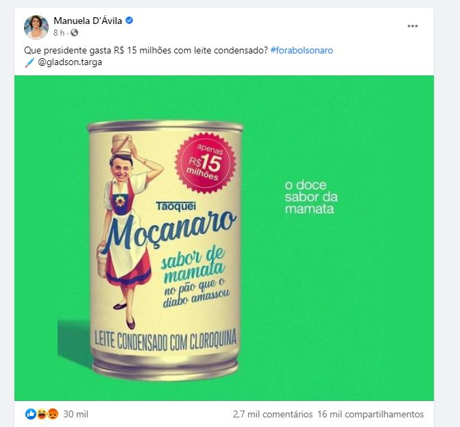 O presidente Jair Bolsonaro gastou R$ 15 milhões em leite condensado em 2020?