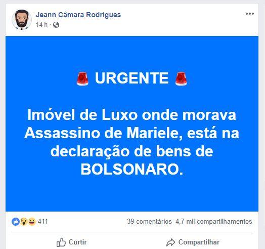 O imóvel de luxo onde morava o assassino de Marielle está em nome do Bolsonaro?