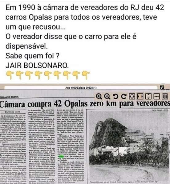 Bolsonaro recusou Opala de luxo de presente da Câmara Municipal, em 1990?