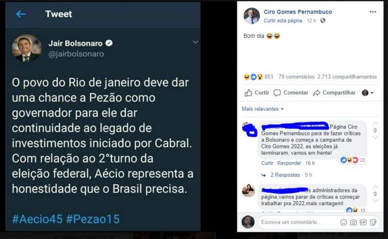 Jair Bolsonaro fez uma publicação no Twitter em apoio ao Pezão?