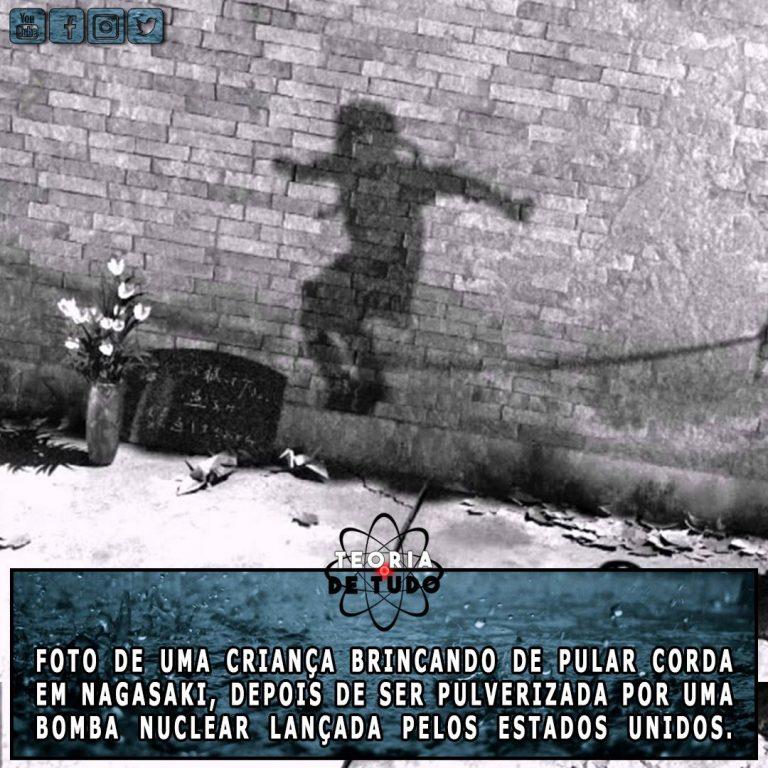Sombra de uma criança pulverizada pela bomba atômica em Nagasaki! Será verdade?